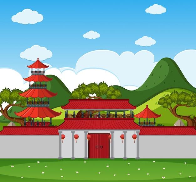 Фоновая сцена с китайскими зданиями и стенами