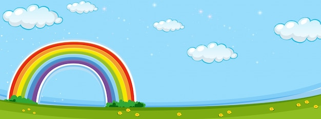 Background scene with colorful rainbow