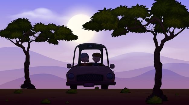 Фоновая сцена с темным небом и людьми за рулем автомобиля