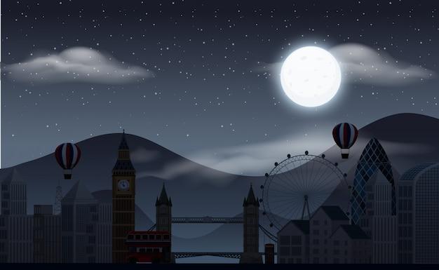 Фоновая сцена с темным небом над парком развлечений