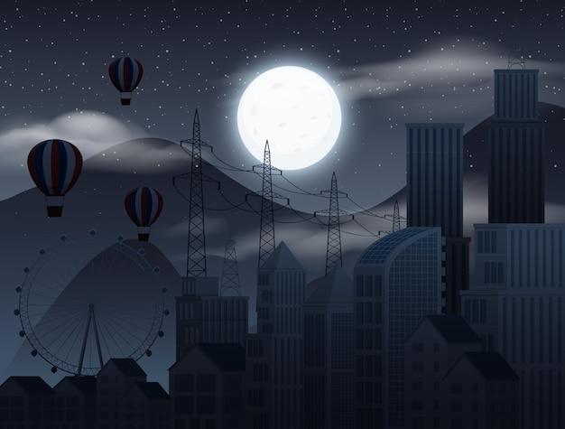 Background scene with dark sky