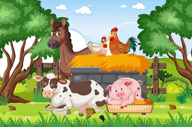 Background scene with farm animals in the park
