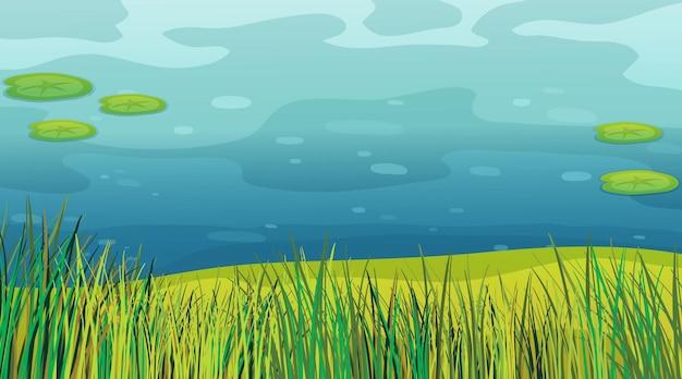草と池の背景シーン