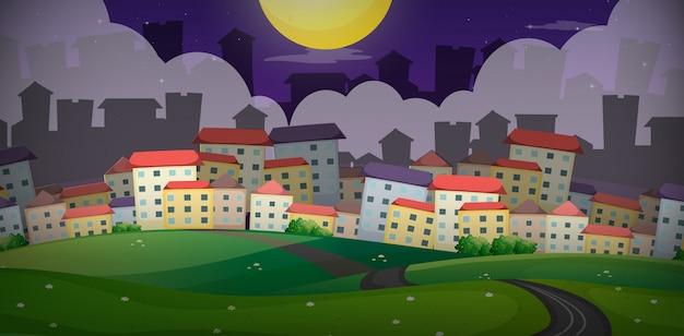 언덕에 마을에 주택 배경 장면