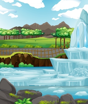 Background scene with ice in the park