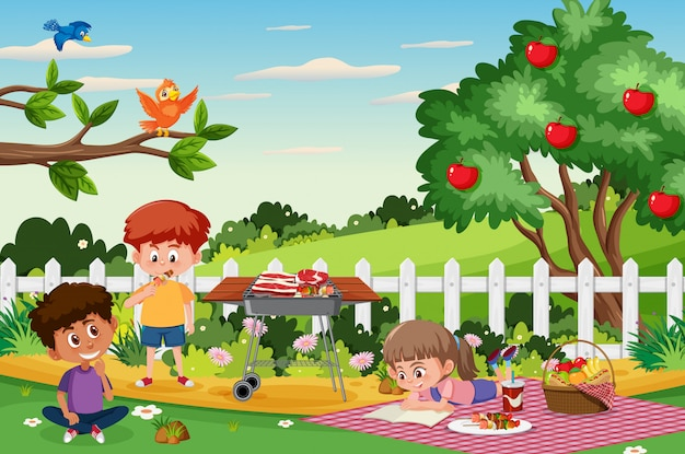 아이들이 공원에서 먹는 배경 장면