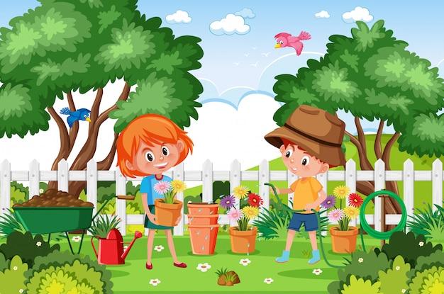 아이들이 공원에서 꽃을 심는 배경 장면
