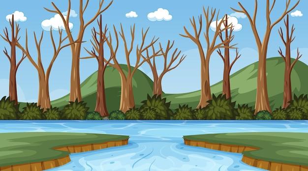 乾いた木々や川がたくさんある背景シーン