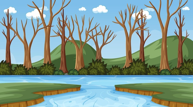 Background scene with many dry trees and river