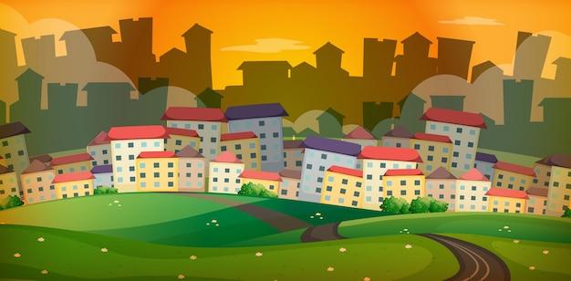 마을에 많은 집들이 배경 장면