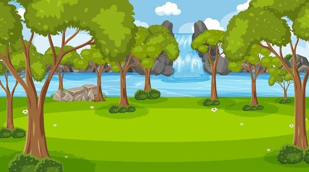 多くの木々や滝のある背景シーン