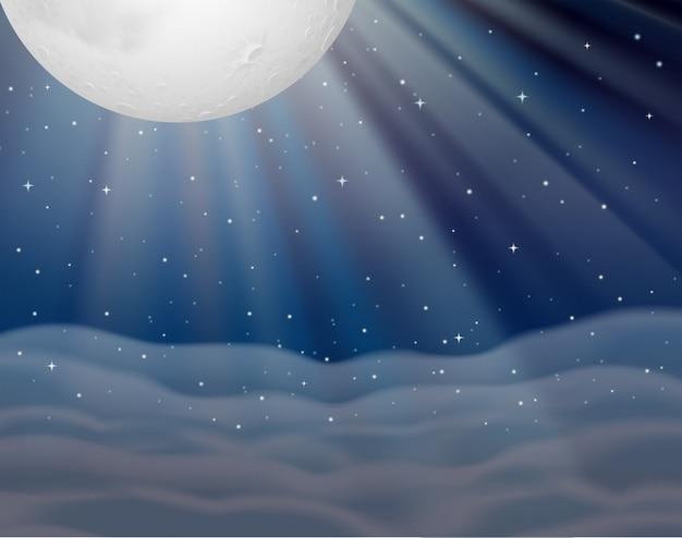 어두운 밤에 달과 배경 장면
