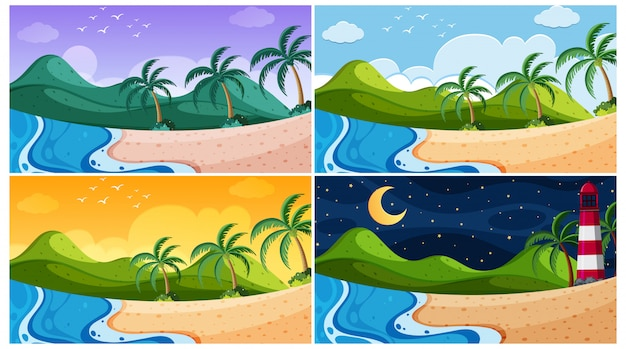 Фоновая сцена с океаном в разное время