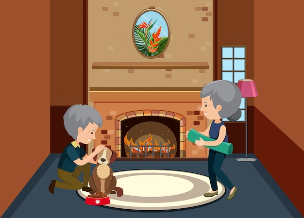 Background scene with old couple staying at home