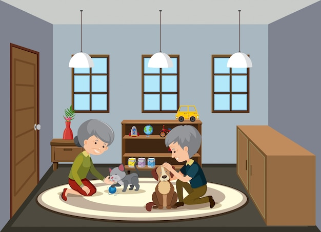 Background scene with old people staying at home