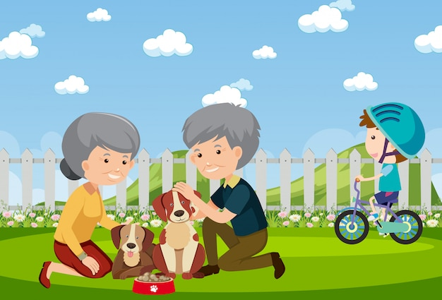 Background scene with people and dogs in the park