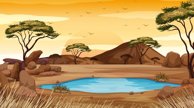Background scene with pond in the desert land