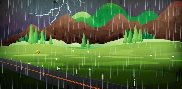 フィールドの雨の背景シーン