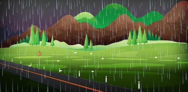 公園で雨が降る背景シーン
