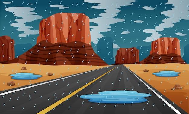 道路イラストで雨の背景シーン