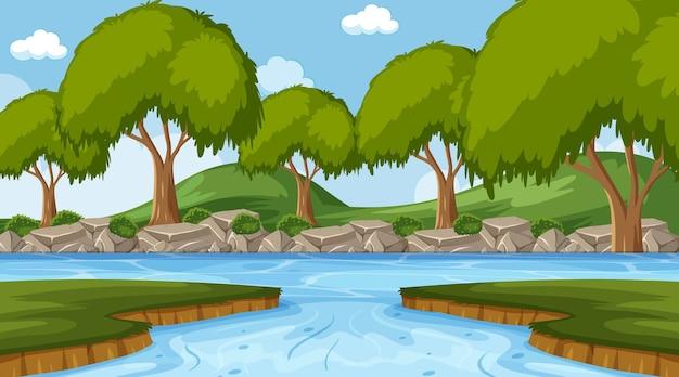 森の中の川の背景シーン