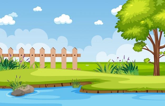 공원에서 강 배경 장면