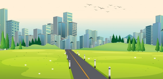 Background scene with road to city