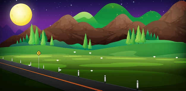 Background scene with road and field at night