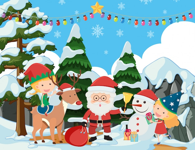 Background scene with santa and kids in snow field