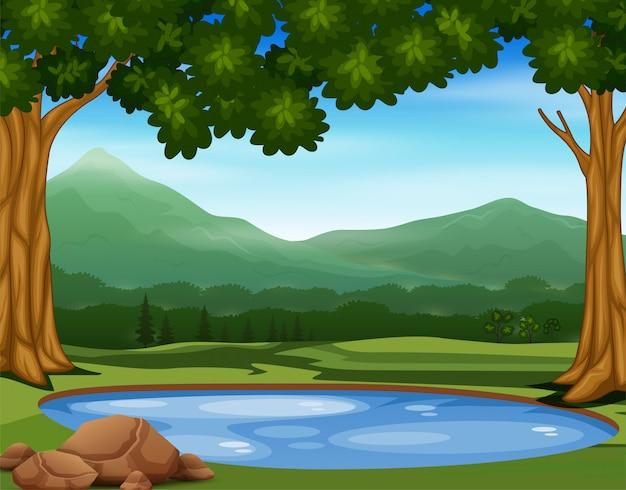 자연에서 작은 연못과 배경 장면