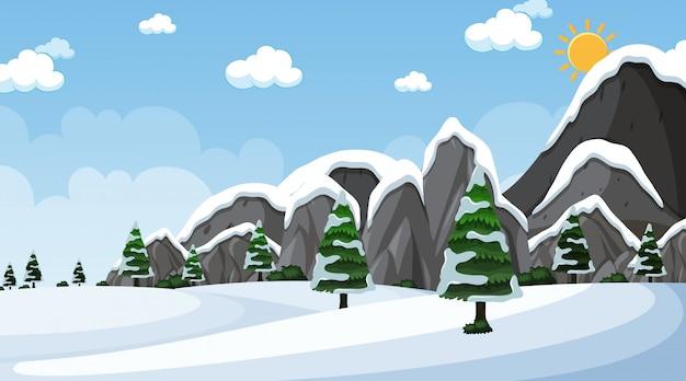 Фоновая сцена со снегом в поле