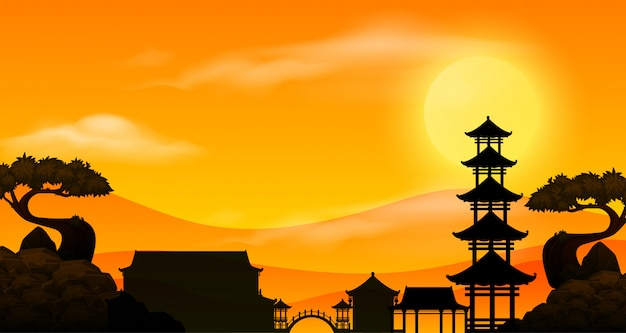 Background scene with sunset and silhouette asian temple