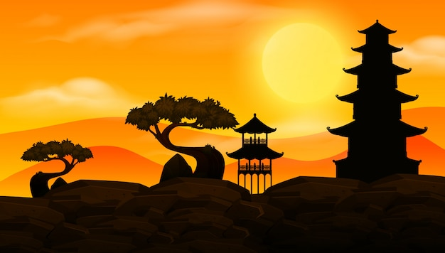 Background scene with sunset and silhouette asian temples