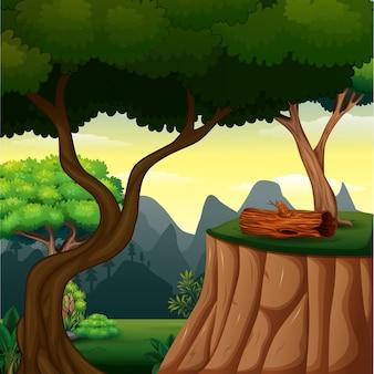 Фоновая сцена с деревом на скале