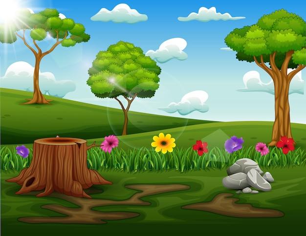 公園の木の切り株と背景シーン