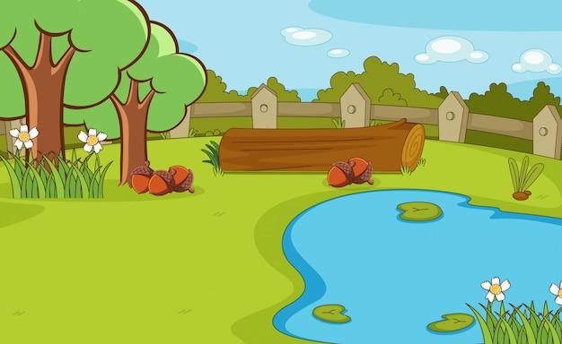 Фоновая сцена с деревьями и прудом
