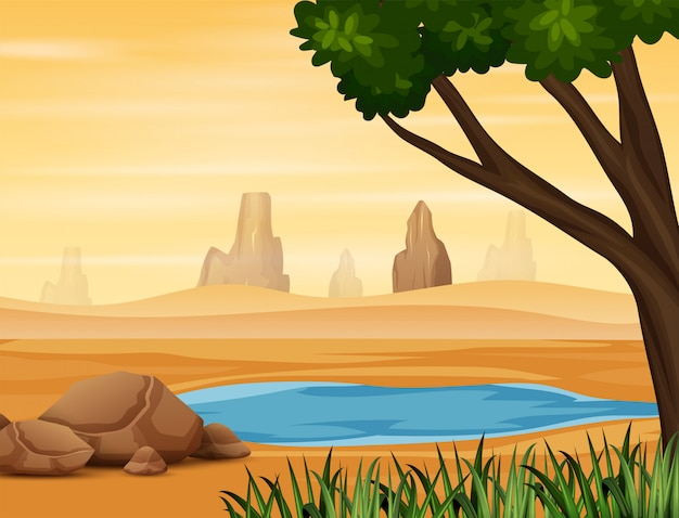 砂漠の水の穴の背景シーン
