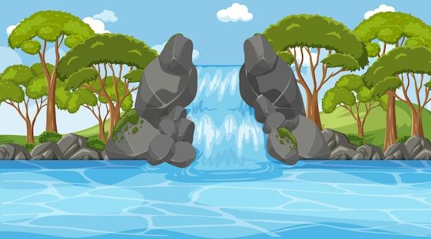 滝と多くの木々の背景シーン