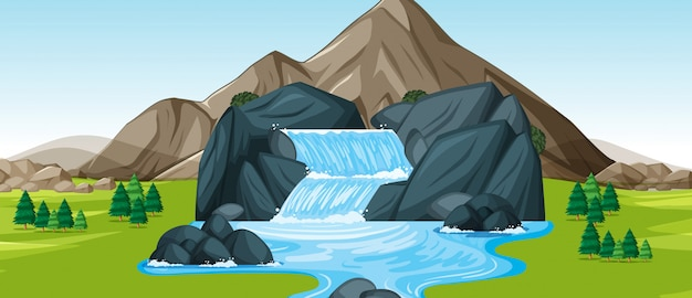 Background scene with waterfall
