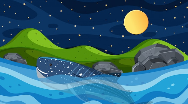 Background scene with whale swimming in the sea