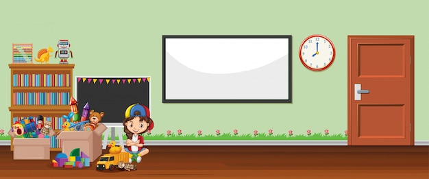 ホワイトボードとおもちゃの背景シーン
