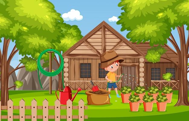 Фоновая сцена с деревянным домом в парке
