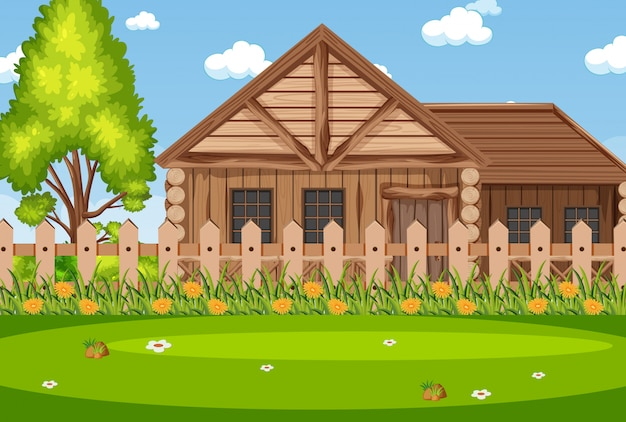 Background scene with wooden house in the park