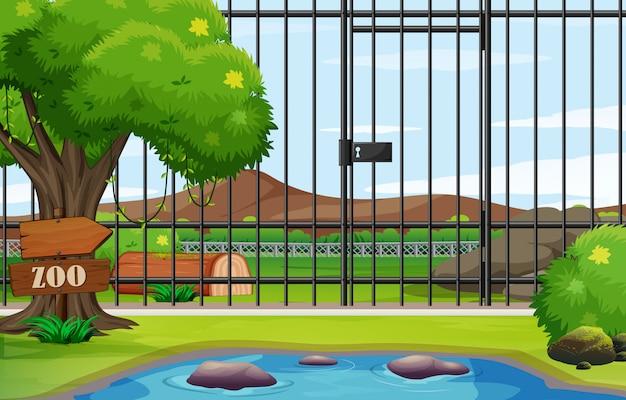 Scena del fondo del parco dello zoo con la gabbia