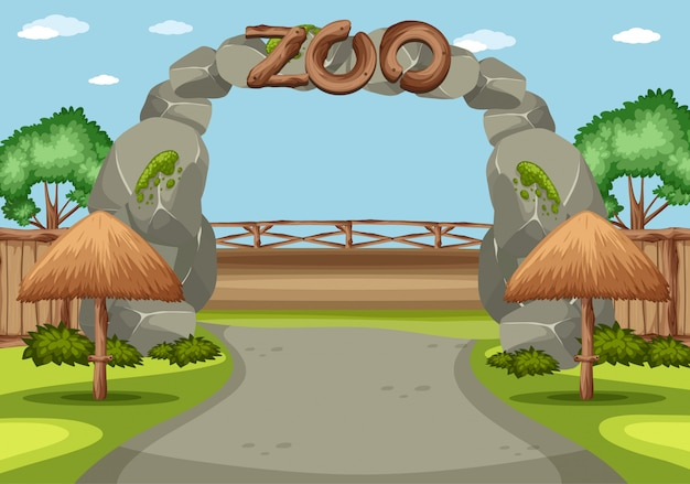Background scene of zoo with big sign in front