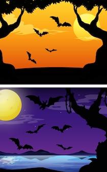Scene di sfondo con pipistrelli che volano al crepuscolo