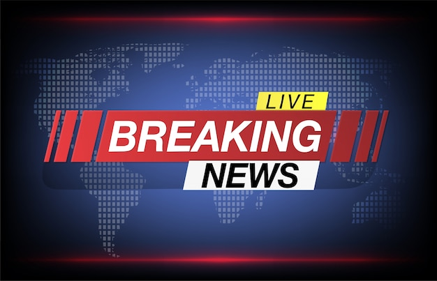 Background screen saver on breaking news. breaking news live on world map background.