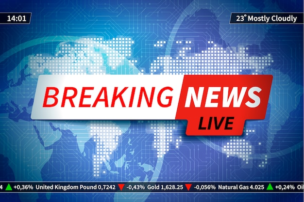 Background screen saver on breaking news with map