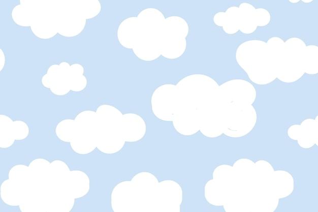 귀여운 솜 털 구름 배경 원활한 패턴 벡터