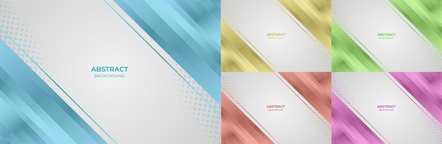 Background set geometric gradient color blue, yellow, green, orange and purple abstract style. vector illustration